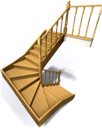 Фото лестницы с забежными ступенями